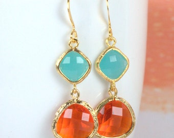 Orange and Turquoise Gold Framed Dangle Earrings, Gold Earrings, Blue Coral Gold Earrings, Summer Earrings, Long Gold Earrings [#893]