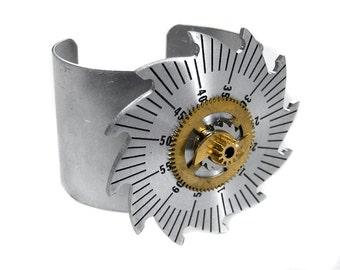 Steampunk Jewelry CUFF Silver Saw Tooth Wheel, Brass GEAR Adjustable Sci Fi  Cuff UNISEX Steam Punk Burning Man Cuff - Jewelry by edmdesigns