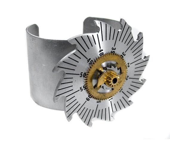 Steampunk Jewelry CUFF Silver Silver GEAR Brass Saw Tooth Wheels Adjustable Aluminum Sci Fi Steam Punk - Steampunk Jewelry by edmdesigns