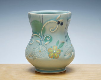 Yunomi in turquoise Frost w. Orange and yellow flowers, & Green and navy polka dots, Colorized detail, Handmade ceramic cup