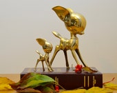 Unique pair of vintage brass deer. Very hard to find, cartoon style, mid-century modern, mother and baby deer