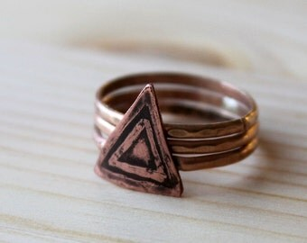 Copper Pyramid Gold Stacking Ring Set