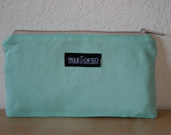 Turquoise Canvas Cosmetic Bag - On Sale