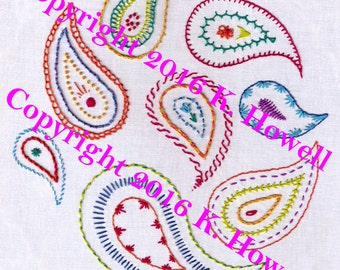 Paisley Sampler Hand Embroidery Pattern