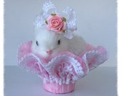 Easter Decoration Sweet Little Easter Bunny  in a Pretty lace Nut Cup  Easter Ornament