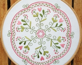 Garden of Hearts Mandala Embroidery Pattern and Kit