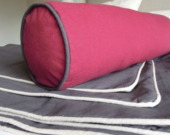 Organic Bolster Pillow Covers, Bolster Cushion Cover with Piping, Pillow Cover, Hemp, Bliss1