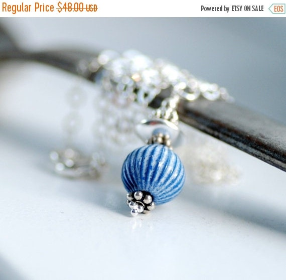 Blue and White Necklace, Peppermint Stripe Necklace, Enameled Pendant Necklace, Sterling Silver Chain - Ye Olde Candy Shoppe
