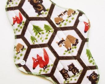 "10.5"" Flannel Regular Cloth Menstrual Pad, Woodland Animals Fox Bear Trees Green Brown Woods, Incontinence Pad, Cloth Sanpro, Plus Size Pad"