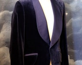Vintage 1960s Men's Blue Velvet Evening Blazer by Palm Beach Formals - Size Medium 40L