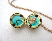 Miniature Blonde Mermaid Locket Necklace