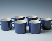 Set of 4 modern cobalt blue porcelain coffee tea cups and creamer by Melitta Germany Stockholm