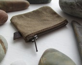 The Coin Collector a change purse by may.tree.ark mini zipper coin pouch minimalist Flea Market cash fund purse waxed brown canvas