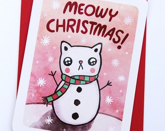 Meowy Christmas Cat Card - Holiday Card, Punny cards, Funny Christmas card, Holiday Greetings, Season's Greetings, Cat Christmas Card