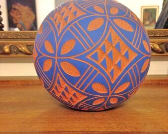 Acoma Pot Vintage 80s Signed Navajo Pottery Ball Vase by JOANNE GARCIA