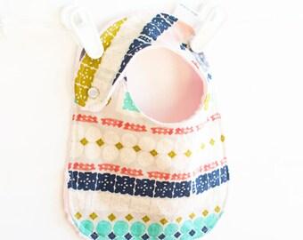 Baby Girl Bib Bandana Paper Cuts Adjustable Reversible Bib with Minky for Toddler Girls