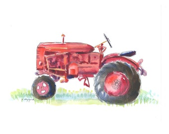 Red Farm Tractor Print - Vintage Farm Tractor Watercolor Painting - Tractor Wall Art Print - Fathers Day Gift