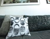 Quilted Handprinted Modern Pillow 12x12 Toss Pillow Neutral Decor Graphic Modern Design Hostess Gift for Him or Her Gift Idea Under 50