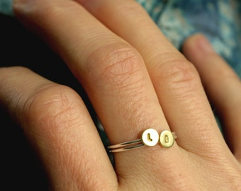 tiny initial ring stacking initial ring small gold initial ring silver stacking ring personalized ring custom ring INITIAL STACKING RING