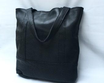 NEW - XL Camino tote bag in black bison hide
