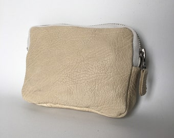 Leather make up bag in cream