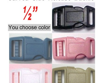 "10 BUCKLES - 1/2"" - CURVED Side Release, 1/2 inch, Strap Buckle, Polyacetal Plastic, Adjustable - You Choose Color"