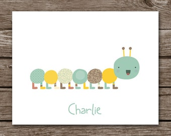 PRINTABLE Caterpillar Note Cards, Caterpillar Cards, Personalized Note Cards,