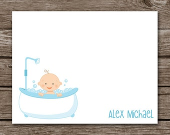 PRINTABLE Baby Shower Thank You Cards, , Boy Thank You Cards, Baby In Tub, Boy Baby Shower, Personalized Cards