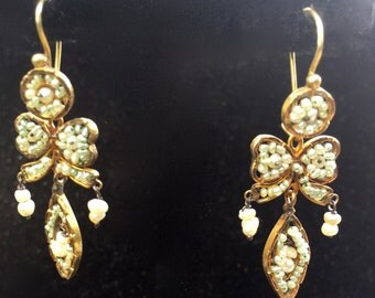 Antique gold and seed pearl earrings from Oaxaca