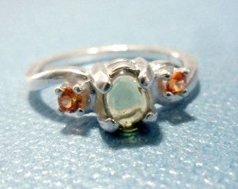Sterling Silver Moldavite Cabochon and Orange Sapphire Ring - Size 7