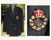 Vintage 90's Ralph Lauren Black Wool Double Breasted Jacket Blazer Size 4