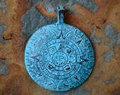 Mayan Calendar Pendant, Aztec Green Patina Cast 45mm Pendant