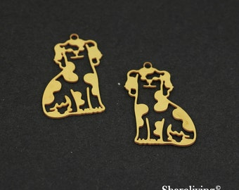 Exclusive - 10pcs Raw Brass Puppy Charm / Pendant, Fit For Necklace, Earring, Brooch - TG183
