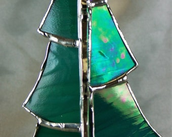 Stained Glass 3D Green Iridescent Christmas Tree Suncatcher