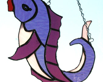 Handmade Stained Glass  Pink and Purple Lady Fish Suncatcher