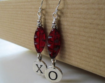 XOXO - X and O Hugs and Kisses Love Red Czech Glass Sterling Silver Earrings