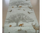 """Table Runner 84"""" Woodland Scene Trees Stags Foxes Squirrels Pheasants Owls Rabbits 7ft Fox Squirrel Pheasant Owl Rabbit Deer Animals 210cm"""