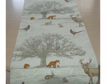 """Table Runner 72"""" Woodland Scene Trees Stags Foxes Squirrels Pheasants Owls Rabbits 6ft Fox Squirrel Pheasant Owl Rabbit Deer Animals 180cm"""