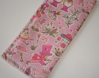 Alice In Wonderland Glasses Sleeve Liberty of London Fabric Eyeglass Case Soft Cozy Spectacles Specs Pink Mad Hatter Eat Me Queen of Hearts