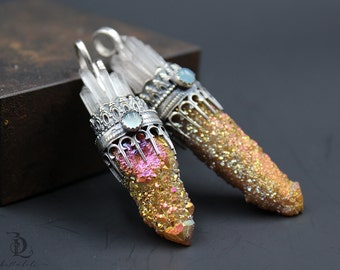 Sunset Seele Castle // Spirit Quartz, Chalcedony and Fairy Quartz Sterling Silver Organic, Gemstone by BellaLili