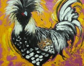 Rooster 797 18x18 inch original animal portrait oil painting by Roz