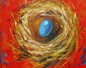 Nest painting 288 12x12 inch original bird nest portrait oil painting by Roz