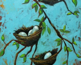 Nest painting 296 24x36 inch original bird nest portrait oil painting by Roz