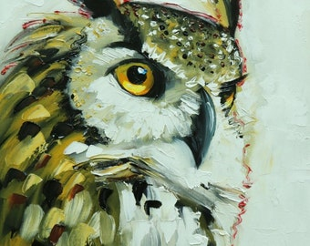 Owl painting 127 12x16 inch original oil painting by Roz