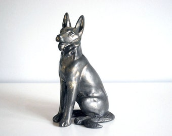 Metal Dog Figurine, German Shepherd Bookend, Silver Pot Metal Animal Statue, Vintage Art Sculpture, 1930s Paperweight, Spelter Dog Toy