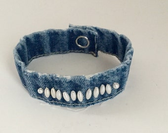 Bracelet Upcycled Blue Jean Wristband OOAK