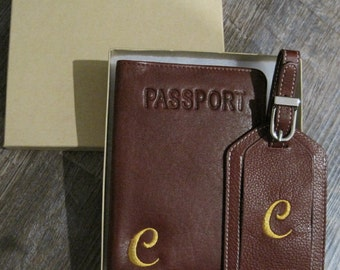 Custom Embroidered Leather Passport Holder and Luggage Tag Set with Initial and Gift Box - Personalized, Customized, Gift, Special Occasion