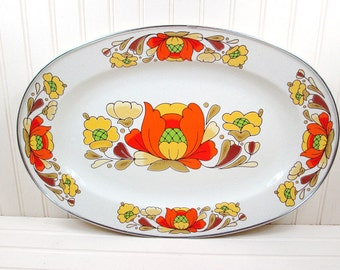 Vintage Enamel Serving Tray Sanko Ware Country Flowers Porcelain Japan Enamelware