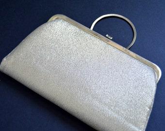 Vintage Gold Evening Clutch with Round Handle {Glamorous Formal Evening Handbag Bridal Fabric Clutch Cocktail Purse Disco Era Metal Frame}
