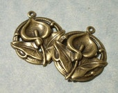 2 Calla Lily Pendants, Flower Pendants, Earring Charms, Necklace Pendants, Brass Stampings, Floral Stampings, Lily Charms